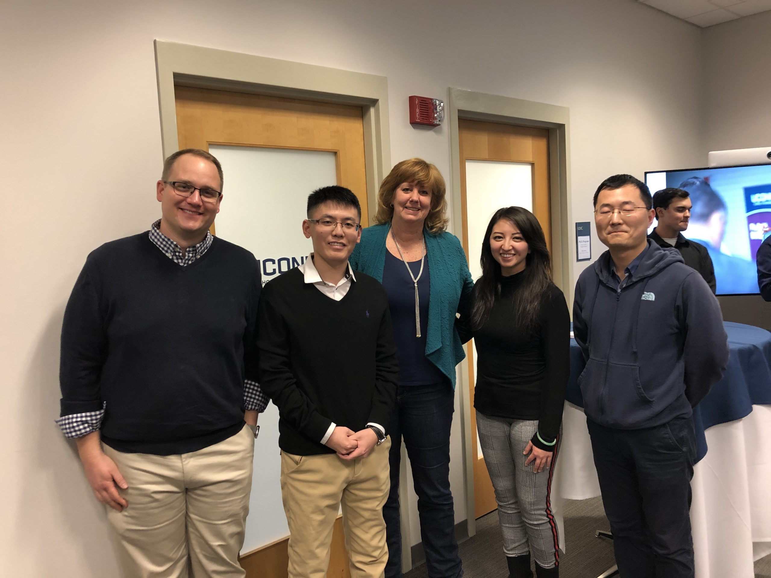 left to right: Trent Krupa (ACCT), Hongfei Li (OPIM), Associate Dean Lucy Gilson, Monique Domingo (MGMT), Luchun Ma (FNCE)