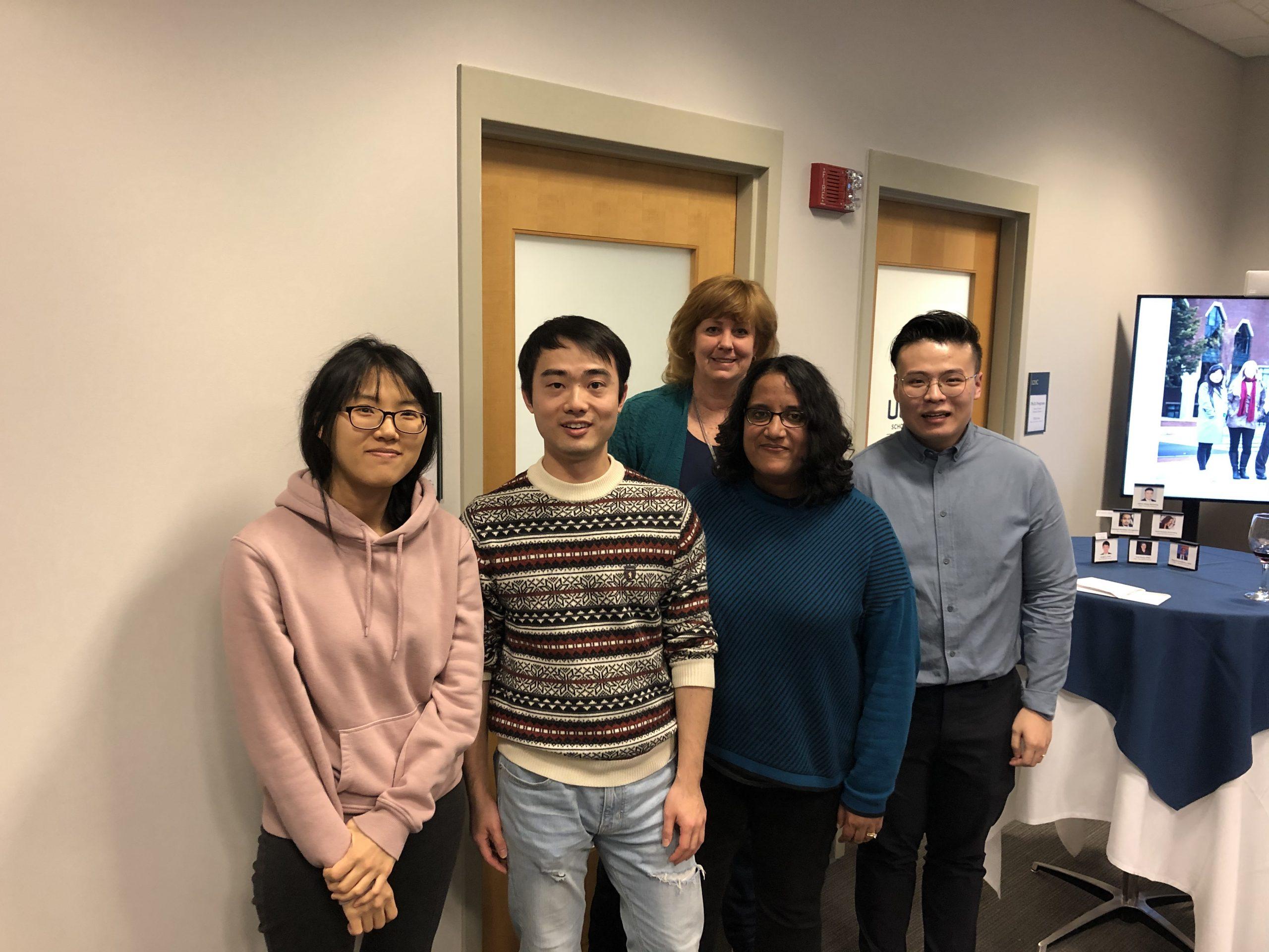 left to right: Youree Kim (ACCT), Zekun Wu (FNCE), Associate Dean Lucy Gilson, Dhvani Badwaik (MGMT), Qizhou Wang (MKTG)